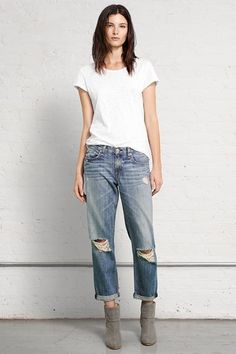 """Boyfriend Jean, Loose fitting straight leg jean with a 5-pocket silhouette - Loose fit - 30"""" inseam - Distressed with holes"""