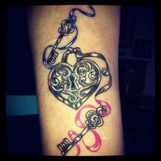 Lock and key tattoo @Chauntell Nelson-Saul check this one out. initials in the keys.