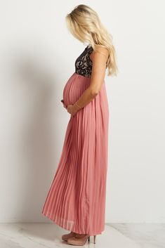 20499833905 Teal Pleated Chiffon Lace Top Maternity Maxi Dress