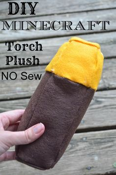 DIY Minecraft Torch Plush NO SEW tutorial- I'm making my kids a whole Minecraft toy set for Christmas gifts! Everything from Creeper, TNT, pig, enderman, steve, etc.