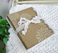 Vintage Doily Lace Note Cards, Handmade Embossed, Kraft, Tea Party, Thank You, Set of 20 Cards with Embossed Envelopes