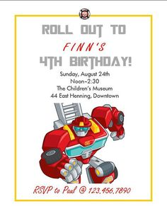 Transformers Rescue Bots Heatwave Custom Birthday by HGMartistry, $9.00