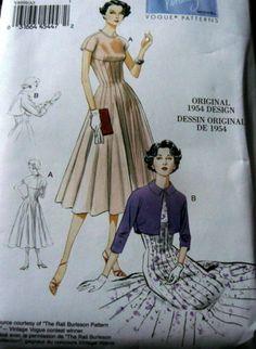 1950s-VOGUE-VINTAGE-MODEL-DRESS-SEWING-PATTERN-6-8-10-12-14-UNCUT