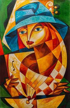 Jose SALAZAR Vazquez 8D Original CUBAN Fine ART 23x35 Signed Painting CUBA Latin #Cubism
