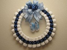 Large baby boy size two diaper wreath! Make the door of any hospital room admired! With this diaper wreath, size 2 diapers, baby boy shoes, Baby shower decoration AND gift!May have to try this next time there's a baby shower. Idee Baby Shower, Shower Bebe, Baby Shower Diapers, Baby Shower Cakes, Baby Boy Shower, Baby Shower Gifts, Baby Gifts, Baby Shower Decorations For Boys, Baby Decor