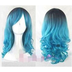 Black Blue Root Fade Wavy Wig (Cosplay, Mermaid, Alternative,... ($35) ❤ liked on Polyvore featuring beauty products, haircare, hair styling tools, hair, black haircare and black hair care