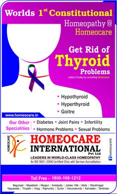 Hypothyroidism means the thyroid is not working optimally or it not making enough thyroid hormones. There are several symptoms of an under-active thyroid.  Homeopathy treatment for thyroid aims at stimulating the thyroid gland and make it function properly in both hypo and hyperthyroidism.  Call us Toll Free: 1800-108-1212  Visit us at:  http://www.homeocare.in/thyroid_treatment.html