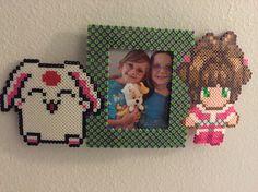 Tsubasa chronicles custom perler picture frame mokona and Sakura.