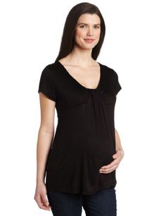 Three Seasons Maternity Women`s Solid Drape Front Top $17.00