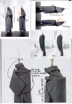 Fashion Sketchbook page with draping experiments, fashion design development // Andrew Voss #fashionsketchbook,