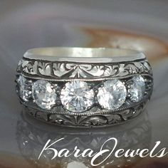 925 Sterling Silver men's ring with clear Zirconia handcrafted unique jewelry #KaraJewels #jewellery #mens #sterling #silver #ring  #handmade #clear #zirconia #gemstone #diamond