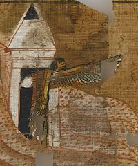 Vignette from Ramose Book of the Dead: the Ba bird, soul of the deceased, being able to fly freely in and out of the deceased's tomb.18th dynasty.