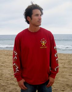 Young Jim sporting the Trojan Tiki long sleeve shirt at 10th Street in Newport Beach
