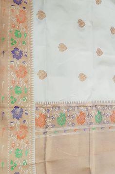 Off White Handloom Banarasi Pure Katan Silk Saree With Meenakari Big Border