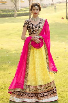 Buy online hot pink and yellow colored georgette and velvet bridal lehenga choli. This beautiful bridal lehenga choli is enriched with lace border, patch border work, resham embroidery, stone work and zari work. Shop online indian attire at lowest price. Bollywood Lehenga, Pink Lehenga, Bridal Lehenga Choli, Indian Lehenga, Lehenga Saree, Wedding Sarees, Wedding Dresses, Bridal Lehenga Online, Lehenga Choli Online