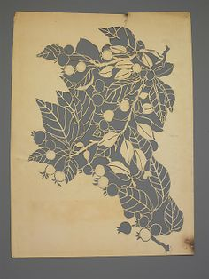 Paper stencil by Dorothy Marshall Hornblower, before Hornblower printed the textiles at Tiffany Studios Inspiring! I really need to make more stencils of my own. I love paper craft! Botanical Illustration, Illustration Art, Botanical Art, Art Origami, Sgraffito, Stencil Art, Paper Cutting, Cut Paper Art, Textures Patterns