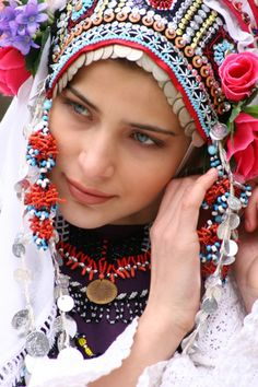 Bulgarian girl in folk costume.