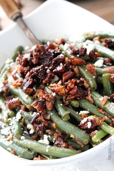 Dijon Maple Green Beans with Caramelized Pecans, Bacon and Feta | http://www.carlsbadcravings.com/dijon-maple-green-beans-with-caramelized-pecans-bacon-and-feta/