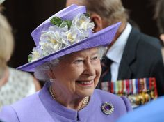 Queen Elizabeth looking lovely in her flowery Rachel Trevor Morgan hat.