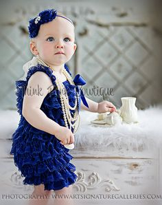 Royal blue petti lace romper, baby girl lace petti romper, petti romper. $16.95, via Etsy.
