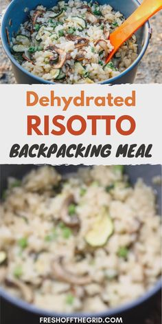 Making homemade backpacking food is easy and delicious! Try this DIY dehydrated backpacking recipe for veggie Risotto.   It's super lightweight, FULL of flavor, and super filling. It's everything you want a backpacking meal to be! Dehydrated Backpacking Meals, Best Backpacking Food, Hiking Food, Hiking Gear, Ultralight Backpacking, Hiking Tips, Camping Meal Planning, Camping Meals, Camping Recipes