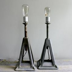 kydlo: Pair Vintage Industrial Lamps OOAK by ethanollie on Etsy Cute idea for a car themed room! Vintage Industrial, Industrial House, Industrial Lighting, Modern Industrial, Industrial Furniture, Industrial Design, Outdoor Lighting, Industrial Industry, Car Furniture
