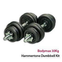 Bodymax 30Kg Hammertone Dumbbell Kit including various plates and bars: http://www.menshealthstore.co.uk/Bodymax-30Kg-Hammertone-Dumbbell-Kit/lid/11031