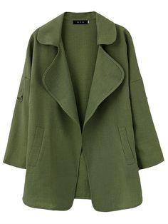 Casual Women Long Sleeve Lapel Pure Color Loose Coat  - Gchoic.com