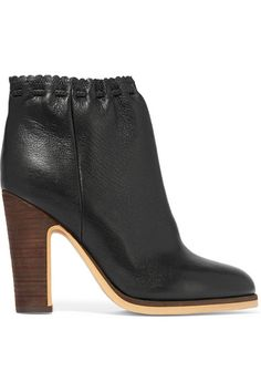 SEE BY CHLOÉ Scalloped Textured-Leather Ankle Boots. #seebychloé #shoes #boots