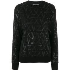 Versus Zayn X printed sweatshirt (€160) ❤ liked on Polyvore featuring tops, hoodies, sweatshirts, sweaters, black, ribbed long sleeve top, ribbed top, long sleeve tops, cotton sweatshirts and round neck sweatshirt