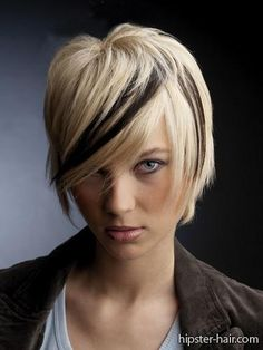 short, blonde, bob, low light, streak, black hair at Hipster Hair : Hairstyle Photo Search