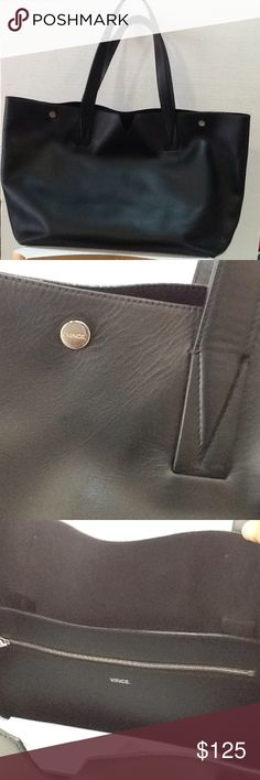 Vince Camuto Sign MD Tote Black Handbag Vince Camuto snap closure tote in black. New without tag. Vince Camuto Bags