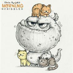 Cute art by Chris Ryniak - morning scribbles - cute and funny art