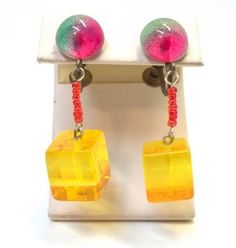 Multicolor Lucite Cube Dangle Earrings Screw Back by donDiLights
