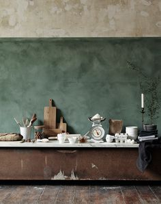 kitchen color idea - green, wood, marble