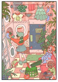 Laundry Day, an art print by Faith Schaffer Cartoon Art, Cute Cartoon, Bg Design, Plant Drawing, Kawaii Drawings, Anime Style, Drawing Reference, Cute Art, Art Inspo