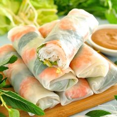 Rice Paper Rolls - Fresh and healthy, learn the EASY way to roll these up! Served with a delicious peanut dipping sauce. www.recipetineats.com