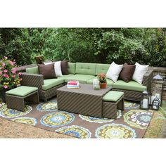 AE Outdoor Hampton 8 Piece Sectional Seating Group with Cushions