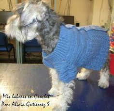 My work in Crochet: Step by step sweater for pets. Dog Items, Puppy Clothes, Dog Sweaters, Crochet Animals, Crochet Pet, Crochet Tops, Crochet For Beginners, Dog Coats, Little Dogs