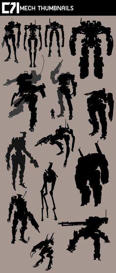 Mech thumbnail sketches, Pochaya Sooksatan on ArtStation at https://www.artstation.com/artwork/mech-thumbnail-sketches