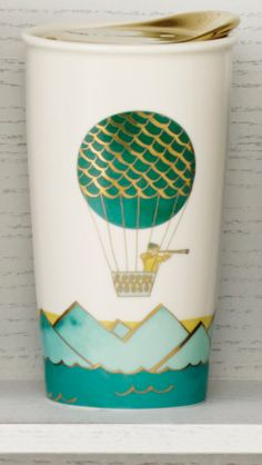 The 'Hot Air Balloon' mug from the Starbucks Dot Collection—boxed and ready to gift. Great for traveling. Great for daydreaming. Great for coffee.