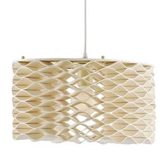 Papier-mâché climbs to new heights in the shape of the Dunbar Pendant. This elegant piece features an elliptical disc of smooth geometric waves that form a honeycomb-like body. Light shines through the creamy Natural crevices, giving off a soft and comforting glow.    Material: Wrought Iron/Paper Mache  Finish: Ivory/Natural