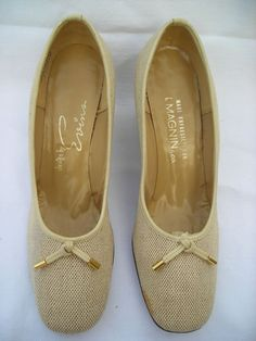 Vintage Evins designed exclusively for I.Magnins in size *6. Beige woven slip on shoe with leather wedge is styled for comfort and great looks.