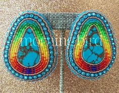 SOLD. These slabs were awesome to work with! I tried using thicker slabs before and did not like it at all. Love them! #nativeamerican #native #americanindian #indian #Navajo #beadwork #indigenous #nativebeadwork #beads #seedbeads #buckskin #braintan #nativeindian #ndn #ndnbling #bling #art #artwork #jewelry #powwow #glam #earrings #swarovski #turquoise #powwowbling #regalia #handmade #craft #indigenous #nativeamericanbeadwork
