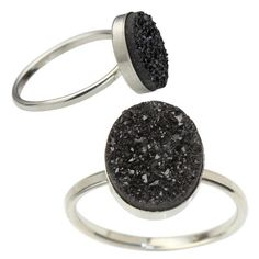 Oval Druzy Ring - Silver - Laura Tanner Jewelry