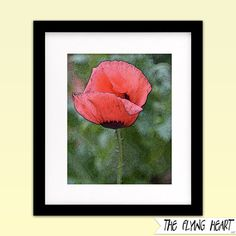 Printable wall art decor: Floral stylized photography, Poppy, flower art, close up, green, pink with texture  by TheFlyingHearts, $5.00