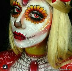 Burning Heart sugarskull Products Used: paradise aqua colors in white, beach berry and yellow. ultra pearl mania in white pearl, white liquid eyeliner, Highlight and contour pro pallette. shadows in love+, buttercupc Amazing Halloween Makeup, Halloween Make Up, Sugar Skull Makeup, Sugar Skulls, Halloween Contacts, Fantasy Make Up, Dead Makeup, Special Effects Makeup, Costume Makeup