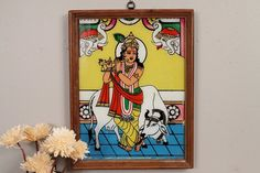 Vintage Indian Reverse Painted Krishna by hammerandhandimports, $99.00