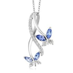 839d68f62 1.21 Ct Marquise Blue Tanzanite 925 Sterling Silver Butterfly Infinity  Pendant With 18 inch Silver Chain from Hughdeal4less