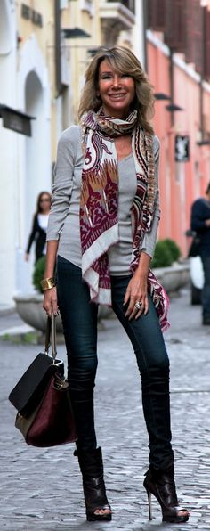 grey sweater with scarf add button down shirt with collar out